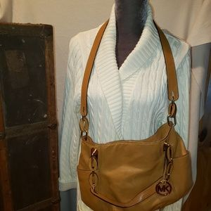 Michael kors hobo brown purse chains crossbody